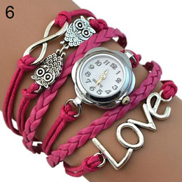 owl bracelet watches NZ - Women's Infinity Love Owl Knitting Multilayer Faux Leather Quartz Bracelet Watches