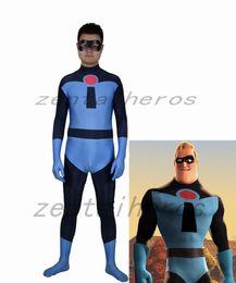 Blue Suit Halloween Australia - New Blue Bob Parr Cosplay costume Superhero Bodysuit 3D Printting Lycra Zentai Halloween Party suit