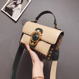 $enCountryForm.capitalKeyWord Canada - Free Shipping Pearl Hasp Flap Women Fashion Tote Wide Shoulder Belt Handbag Crossbody Purse Kahaki Pink Blue Black Green