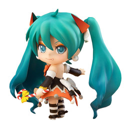 "Discount hatsune miku nendoroid collection Color box Hatsune Miku Halloween Nendoroid 448 PVC Action Figure Model Collection Toy 4"" 10CM"