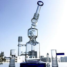 $enCountryForm.capitalKeyWord NZ - Unique Design Blue Tall Recycler Dab Oil Rigs Glass Bongs Smoking Water Pipes Matrix Perc Glass Bong With Bowl DHL Wholesale Free KOC02-BL