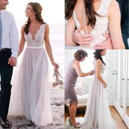 $enCountryForm.capitalKeyWord NZ - Lace Tulle A-line Boho Wedding Dresses Sleeveless See Through Bodice Outdoor Summer Informal Beach Bridal Gowns Custom Made