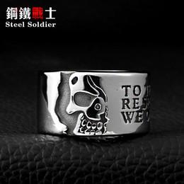 Punk Rings Australia - Steel soldier Wolfman Designed Half Skeleton Ring Stainless Steel Man's Punk Skull Men's Ring top quality gift