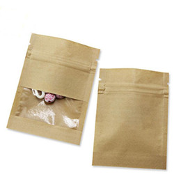 Clear window gift bags online shopping - 7X9cm Small Thicken White Brown Kraft Paper Ziplock Bag zipper Pouch with Clear Window For Tea Coffee Snacks Candy Food Storage