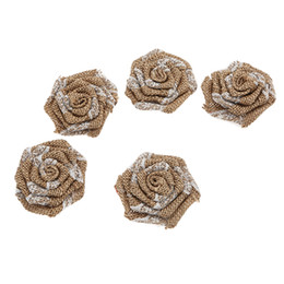 Lace decorations online shopping - 3 Fashion Knitted Burlap Rosette Flowers Matching Lace Supplies Decoration for Girls Women Lady Headband