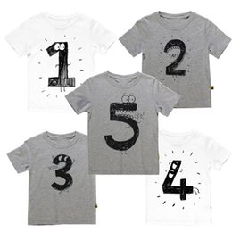 Wholesale Fashion Design lovely baby tee shirt short sleeve grey white digital print kids T shirt Birthday tees top quality