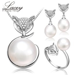 bridal pearls set 2019 - Freshwater natural pearl sets women girl wedding gift,925 sterling silver fine bridal real pearl jewelry sets children b