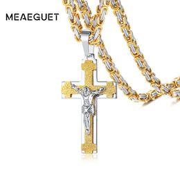 $enCountryForm.capitalKeyWord UK - Men Necklace Catholic Jesus Christ On INRI Crucifx Cross Stainless Steel Pendant Byzantine Free Chains Vantage Male Gifts