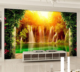 $enCountryForm.capitalKeyWord Canada - Customized Size 3D Non-woven Photo Wallpaper Waterfall Natural Landscape Background Wall Mural Living Room Bedroom Wall Paper