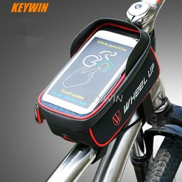 waterproof touch screen cell phones Canada - New Bicycle Front Tube Bag Waterproof Sun Visor Touch Screen Bike Frame Cell Phone Bags Holder For Mobile phone Below 6.0 Inches