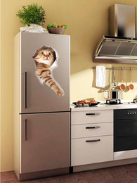 Decorative kitchen wall stickers online shopping - High Quality Cat D Look Hole Wall Sticker Bathroom Toilet Decorations Kids Gift Kitchen Cute Home Decor Decal Mural Animal Wall Poster