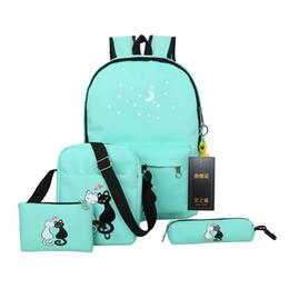 Cute Backpacks For Teenage Girls Australia - 4Pcs set School Bags For Teenage Girls Women Cute Cat Printing Backpacks Ladies Rucksack Shoulder Bags Book bag Clutch Bag Y18110202