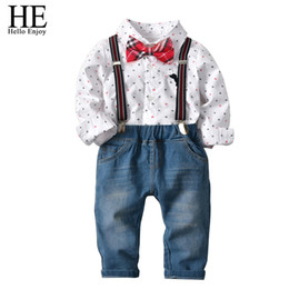 HE Hello Enjoy Clothes For Boys Sets Toddler Clothing Long Sleeve Tie Print Shirt Jeans Suits Birthday Party Kids Autumn 2 7Year