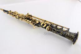 Saxophone plating online shopping - Selmer R54 Black Nickel Gold Soprano Bb Straight Saxophone Gold Plated Key Saxophone Soprano Sax Music Instrument