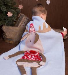 Nursery blaNket online shopping - 60 cm ins blanket kids elk Christmas Stroller Swaddle Newborn Deer Elk Winter Knitted Wraps Animal Nursery Blanket KKA6100