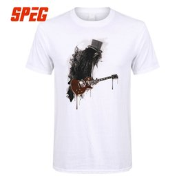 Wholesale Slash T Shirt for Men Guitar Rock Ink Style Gun Music Roses Man Cotton Short Sleeve T Shirt Best Selling Tops Funny Tees