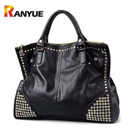 $enCountryForm.capitalKeyWord Canada - Big Capacity Luxury Handbags Women Bags Designer Black Punk Rivet Bag Black Leather Women Crossbody Bags Famous Brand Sac A Main