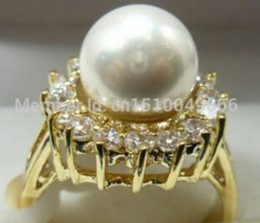 18kgp white gold UK - FREE SHIP >>>>>White South Sea Shell Pearl 18KGP Crystal Ring size: 6.7.8.9