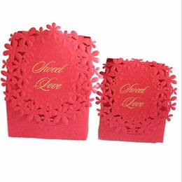 Discount laser cut wedding favours box - Red Colors Luxury Candy Boxes Laser Cut Sweet Boxes for Wedding Party Favour Box Party Gift Box QW7015