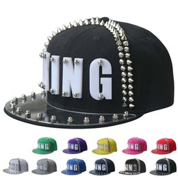 funny baseball Canada - High Quality 2018 King Rivets Baseball Caps Hot Hats Snapback Caps Baseball Cap Funny Hats Spring Summer Hip Hop Boy