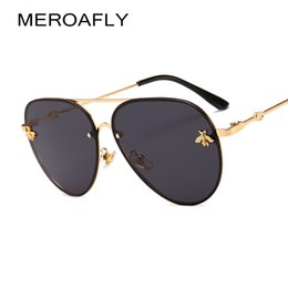 Bee accessories online shopping - MEROAFLY Bee Pilot Sunglasses Vintage Glasses Shades for Women Men Metal Frame Fashion New Designer Sunglasses Women Accessories