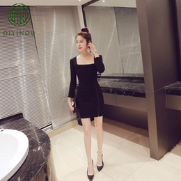 62db9dc0ed DIYINOO Autumn New Style Square Collar Office Lady Sexy Black S M L Zippers  Full Sleeve Solid Women's One-piece Dress