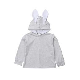 Cartoon Rabbit Hoodies UK - 2018 New Brand Solid Baby Girl Kids Clothes Cartoon Cute Rabbit Ear Bunny Hoodie Outwear Sweatshirts Clothes 1-6 T