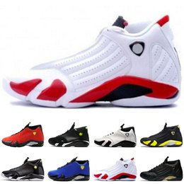 c4580dc642a4b2 New Authentic 14 14S OG Last Shot Man Basketball Shoes Suede Thunder Sports  Sneakers For Men Black Red Shoes free shipping