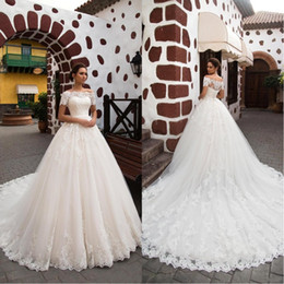 full button dresses NZ - 2018 Gorgeous Off Shoulder Full Lace Wedding Dresses Short Sleeve Covered Button Applique Chapel Train Plus Size Bridal Dress BA8187