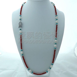 """Silicone Connectors Australia - N121504 32"""" Red Pearl Cz Connector Necklace"""