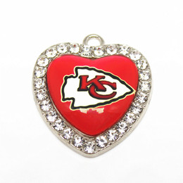 Sports Accessories For Wholesale NZ - 10pcs lot Football Team Sports Crystal Heart Charms Hanging Dangle Floating Charms For DIY Women Bracelet Bangle Necklace Jewelry Accessory