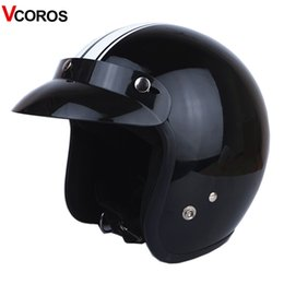 VCOROS 3/4 rosto Aberto da motocicleta do vintage capacete com máscara destacável homens scooter harley moto capacetes para vespa motocicleta em Promoção