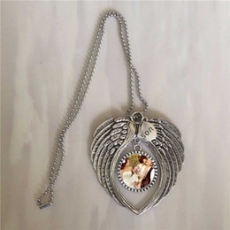 Sublimation Angel Necklaces Pendants For Birthday Gifts Mom Son Daughter Dad Hot Transfer Printing Pendant New Style Wholesales