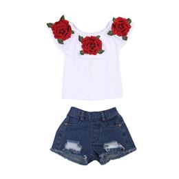 c206d3e38193 New Fashion Children Girls Off shoulder Floral T-shirt Tops+Hole Denim  Short Jean 2PCS Rose Flower Suit Clothing Set 1-6Y