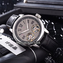 Discount double tourbillon watch - Brand New Hommage Double Tourbillon RDDBHO0562 Gray Dial Automatic Mens Watch Silver Steel Case Leather Strap High Quali