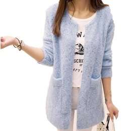 Knitted Cardigans Canada - OHRYIYIE Long Cardigan Women 2017 Spring Autumn Sweater Women Long Sleeve Knitted Cardigan Female Tricot Lady Clothes Pull Femme