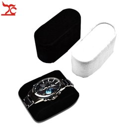 velvet pillow displays wholesale NZ - Wholesale 10Pcs Lot Velvet Bangle Cushion Wrist Watch Bracelet Display Stand Holder Black White Watch Case Storage Watch Pillow