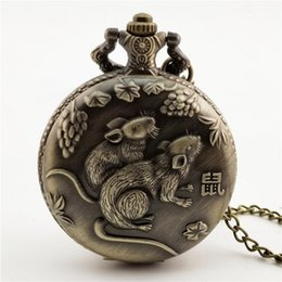 Hot New Chinese Zodiac Bronze 3d Smart Monkey Playing Pattern Quartz Pocket Watch Necklace Chain Carving Back Womens Men Gifts Pocket & Fob Watches