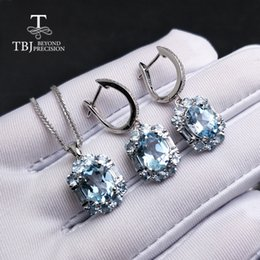85b8bfc7da1406 TBJ,natural sky blue topaz gemstone jewelry set in 925 sterling silver  elegant special pendant earring for women lady as gift