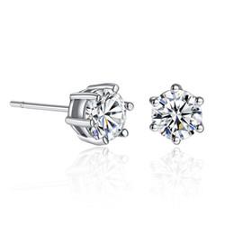 $enCountryForm.capitalKeyWord NZ - 18K White Gold Fashion Women Earings Classic Six Claw Diamond Stud Earrings Luxury Austrian Crystal Earring Korean Jewelry Wholesale