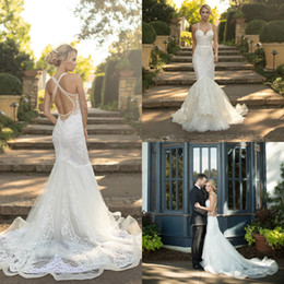 sweetheart mermaid fishtail wedding dress NZ - Naama & Anat 2019 Mermaid Wedding Dresses Sweetheart Lace Hollow Sweep Train Bridal Gowns Plus Size Fishtail Robe De Mariée