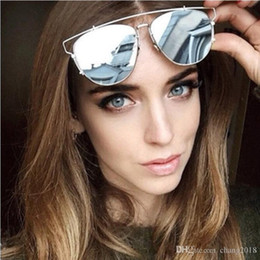 Discount sunglasses for females - Cat Eye vintage Sunglasses Brand designer rose gold mirror Sunglasses For Women Metal Reflective flat lens Sun Glasses F