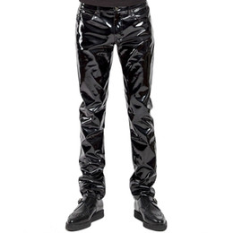 China Mens Lingerie Wetlook Slim Fit Shiny Patent PVC Leather Latex Nightclub Party Tight Pants Leggings Trousers with Open Penis Hole cheap man lingerie party suppliers