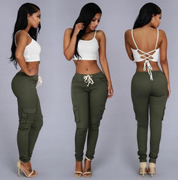 $enCountryForm.capitalKeyWord Canada - Fashion Style Women Pants Ladies Trousers Solid Clolor Slim Stretch Drawstring Trousers Green Red Sexy Party Club Pockets Pants