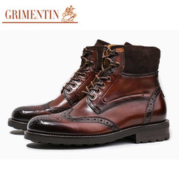 Discount mens italian leather boots - GRIMENTIN Hot sale brand customized handmade mens boots Italian fashion casual mens shoes genuine leather formal busines