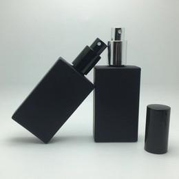 Black perfume sprayer online shopping - sambette High Quality ml Square Glass Perfume Bottle ml black Glass Spray Bottle Fragrance Packaging Bottle Refillable