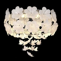 $enCountryForm.capitalKeyWord NZ - OOVOV Modern White Purple Flower Butterfly Pendant Lamp Ceiling Lights Princess Room Dining Room Living Room Pendant Light