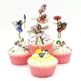 $enCountryForm.capitalKeyWord UK - 720pcs Flower Fairy elf Girl Cupcake Topper Pick kids Birthday Party Baby Shower Wedding Cake Flags Sticker Decoration Supplies