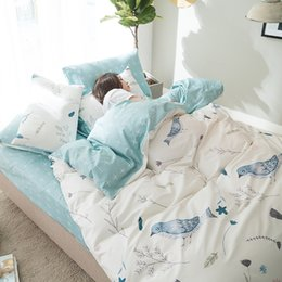 Discount bird crib bedding set - 100% Cotton Bedding Set Blue Birds Printing Pastoral Style High Quality Duvet Cover Bed Sheet 2 Pillowcase Home Queen Ki