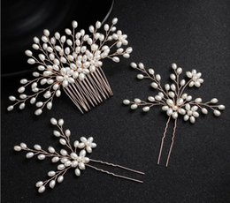 White Rose Wedding Hair Clips NZ - Pearl U Hair Pins Clips Combs Wedding Bridal Headpiece Tiara Crown Crystal Rhinestone Headdress Ornament Hair Accessories Jewelry Rose Gold